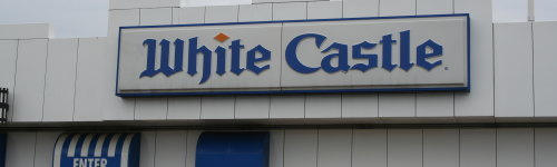 'What you Crave' was White Castle's old slogan and it's easy to see with their product line. White Castle is famous for their sliders, or small, square hamburgers. You can also get a crave crate, which is a suitcase like a bag filled with 30 sliders. In the southeast White Castle is called Krystal.